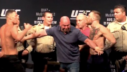 Nate Diaz and Conor McGregor held apart