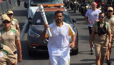 Rodrigo Noegueira Carrying Olympic Torch in Rio