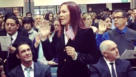 Cris Cyborg taking US Citizen oath