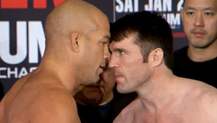Tito Ortiz and Chael Sonnen weigh-in faceoff