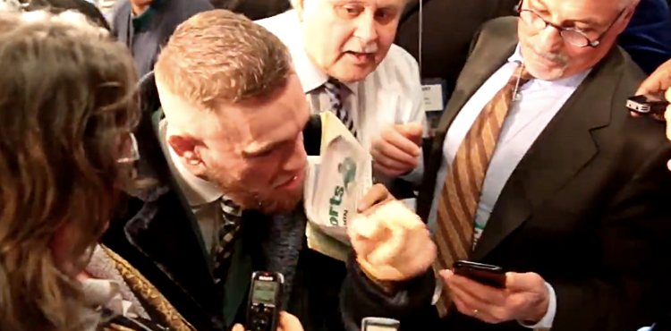Conor McGregor confronts boxing media at MSG
