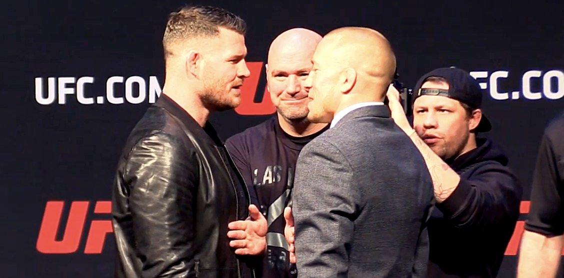 Michael Bisping and Georges St-Pierre first faceoff