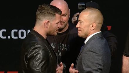 Michael Bisping vs Georges St-Pierre presser face-off