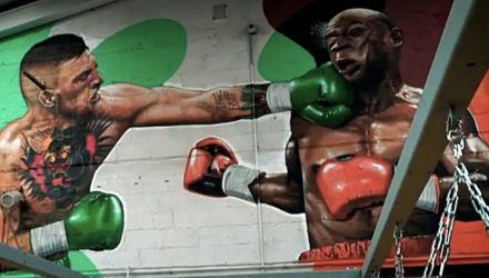 Conor McGreogr punching Floyd Mayweather mural