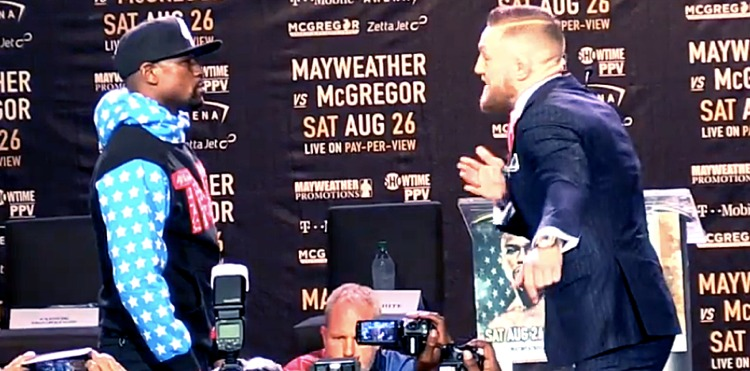 Floyd Mayweather vs Conor McGregor first faceoff