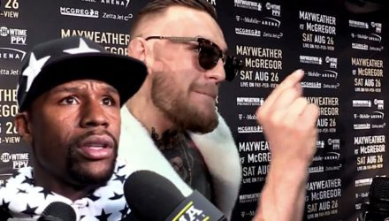 Floyd Mayweather worried - Conor McGregor pointing