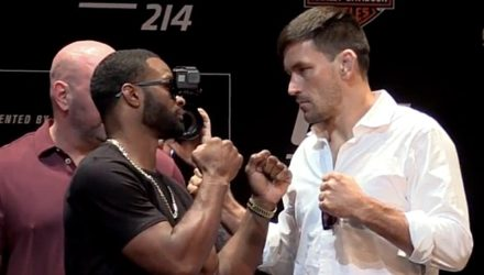Tyron Woodley and Demian Maia UFC 214 Presser Faceoff