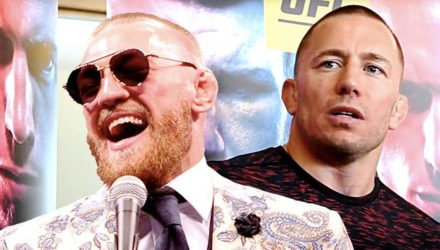Conor McGregor lauging over Georges St-Pierre