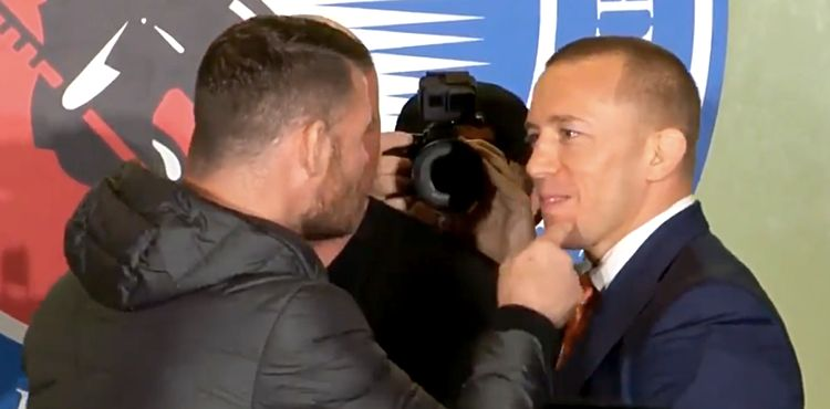 Michael Bisping and Georges St-Pierre Toronto UFC 217 faceoff