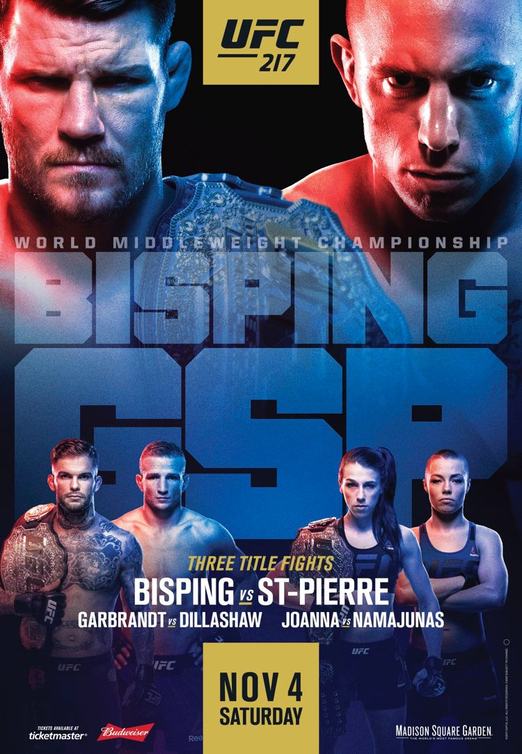 UFC 217 Bisping vs St-Pierre Fight Poster