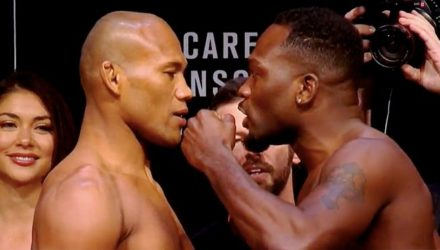 Jacare vs Derek Brunson UFC on FOX 27 weigh-in faceoff