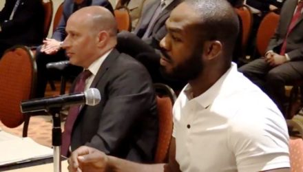 Former UFC champion Jon Jones and attorney Howard Jacobs at CSAC Dec. 11, 2018, hearing