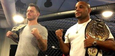 Stipe Miocic and Daniel Cormier Belts TUF 27 Media Day