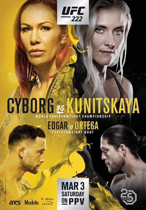 UFC 222 Cyborg vs Kunitskaya Fight Poster