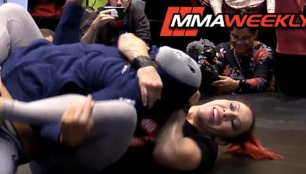 Cris Cyborg fights off surprise masked intruder BJ Penn at UFC 222 open workouts