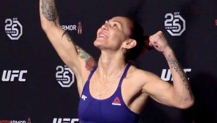 Cris Cyborg at the official UFC 222 early weigh-in