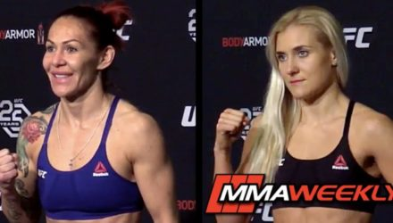 Cris Cyborg and Yana Kunitskaya make weight at the UFC 222 official weigh-in