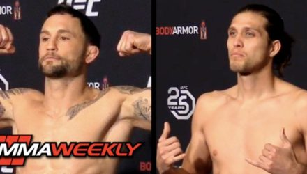 Frankie Edgar and Brian Ortega make weight at the UFC 222 official weigh-in