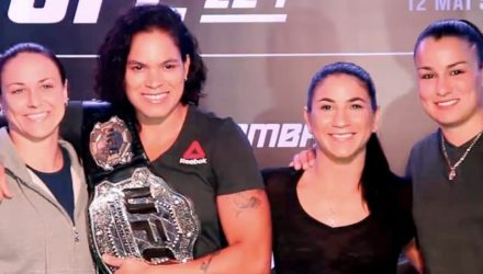 Nina Ansaroff, Amanda Nunes, Tecia Torres, and Raquel Pennington at UFC-224 media day staredown