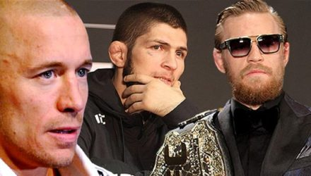 Georges St-Pierre, Khabib Nurmagomedov, and Conor McGregor