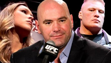Ronda Rousey, Dana White and Brock Lesnar