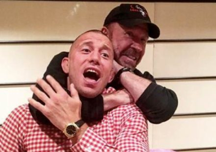 Chuck Norris chokes out Georges St-Pierre