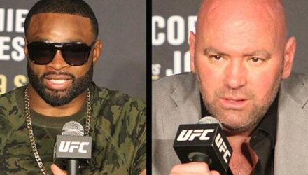 Tyron Woodley and Dana White split screen