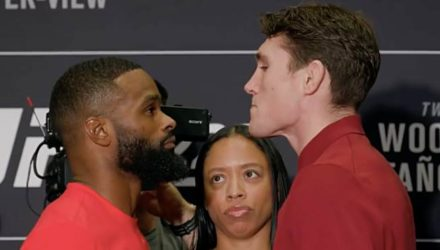 Tyron Woodley vs Darren Till UFC 228 media day staredown