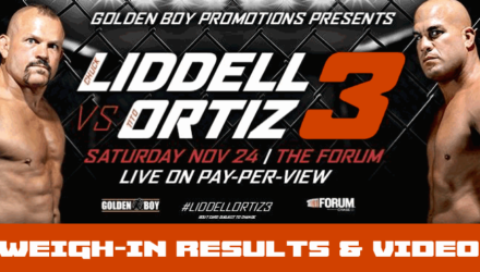Liddell vs Ortiz 3 weigh-in results and video