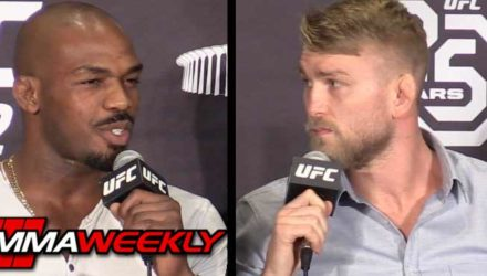 Jon Jones and Alexander Gusafsson spar at UFC 232 press conference