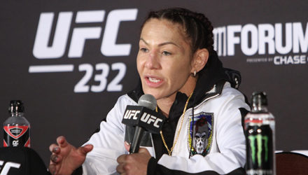 Cris Cyborg at the UFC 232 Post-Fight Press Conference
