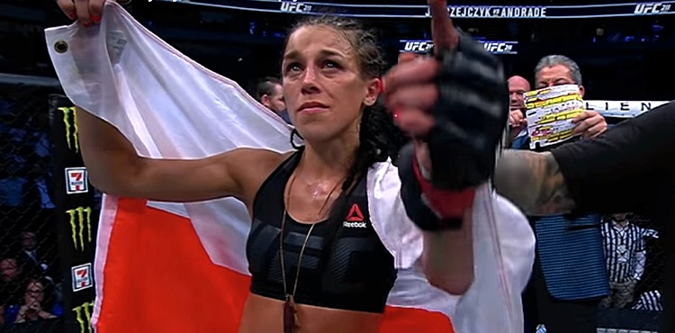 Joanna Jedrzejczyk with Polish flag