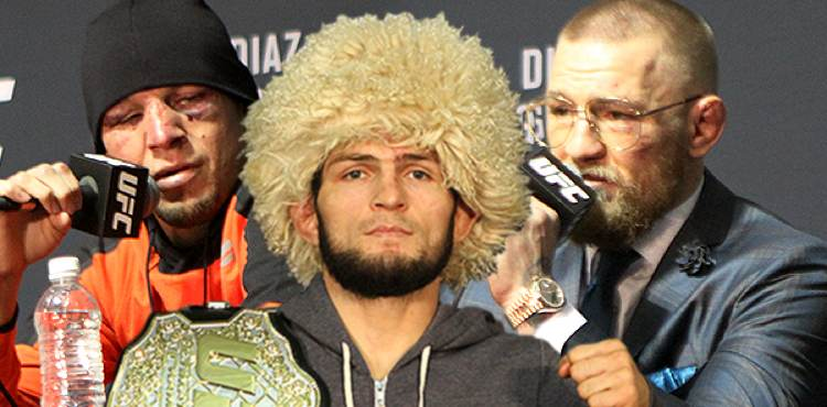 Nate Diaz, Khabib Nurmagomedov, and Conor McGregor