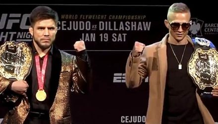 UFC Brooklyn Cejudo vs Dillashaw belts