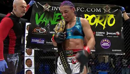 Vanessa Porto with belt at Invicta FC 34