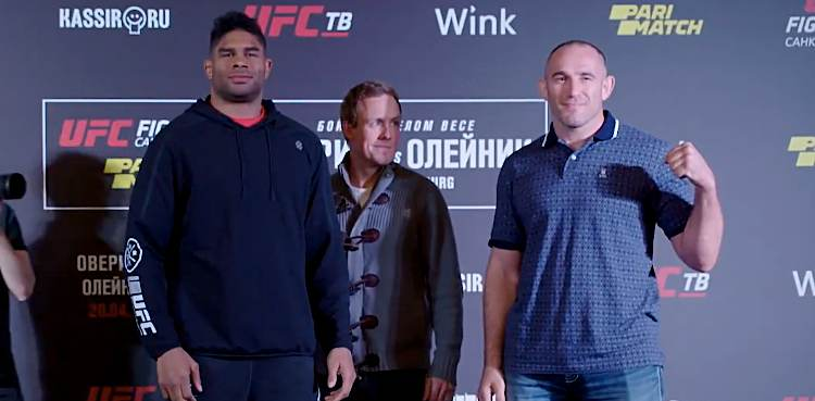 Alistair Overeem vs Aleksei Oleinik UFC St Petersberg media day faceoff
