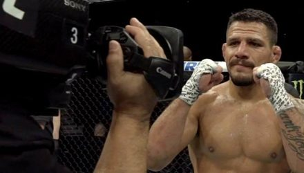 Rafael Dos Anjos hands up after UFC Rochester