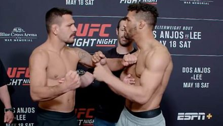 Rafale Dos Anjos and Kevin Lee UFC Rochester face-off