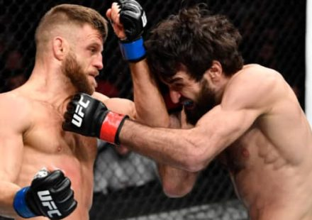 Zabit Magomedsharipov punches Calvin Kattar at UFC on ESPN+ 21