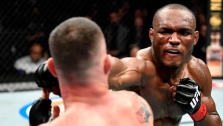 Kamaru Usman punches Colby Covington at UFC 245