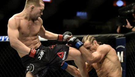 Peter Yan knees Urijah Faber at UFC 245