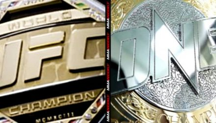 UFC and ONE Championship Belts split screen