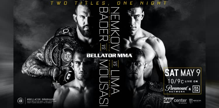 Bellator Bader vs Nemkov 2 titles fight poster