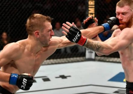 Dan Hooker punches Paul Felder at UFC Auckland
