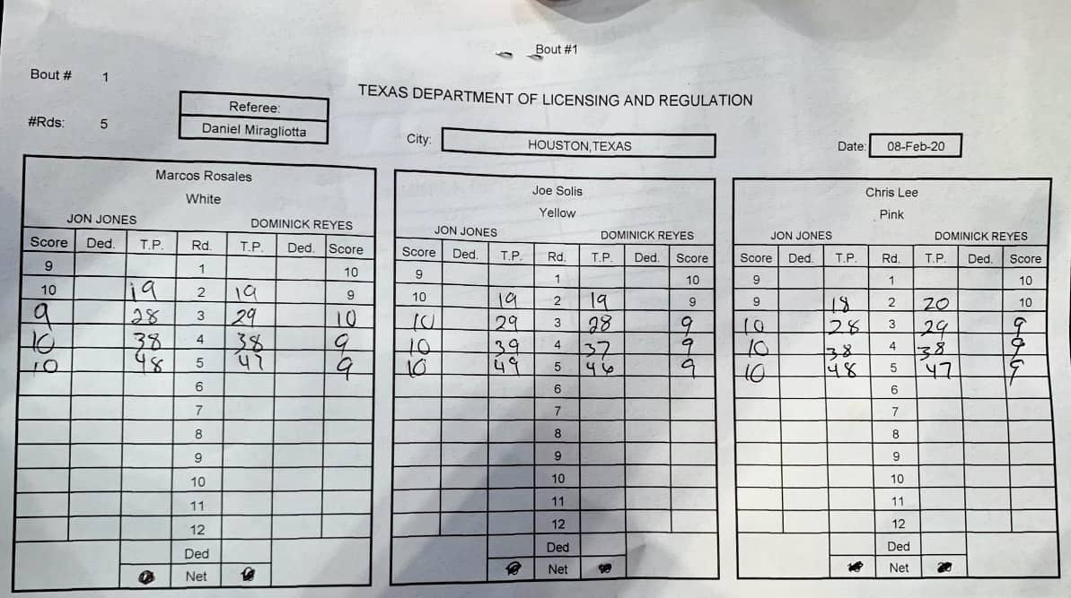 UFC 247 Scorecard - Jon Jones vs Dominick Reyes