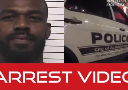 Jon Jones mug shot and police car