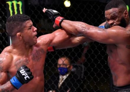 Gilbert Burns cracks Tyron Woodley at UFC on ESPN 9