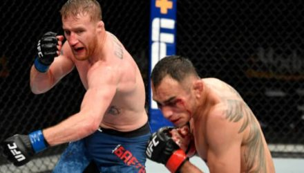 Justin Gaethje punches Tony Ferguson at UFC 249