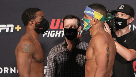 UFC on ESPN 9 Tyron Woodley vs Gilbert Burns faceoff