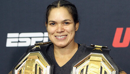 Amanda Nunes UFC 250 post-fight two belts